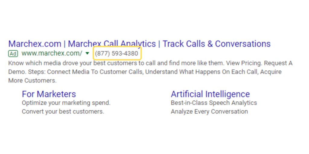 call extension ad