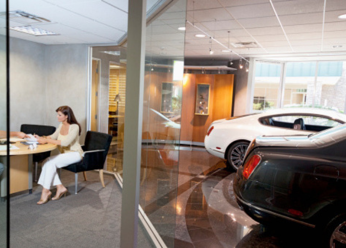 auto dealership sales room