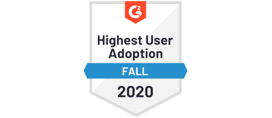 G2 Crowd Highest User Adoption Fall 2020